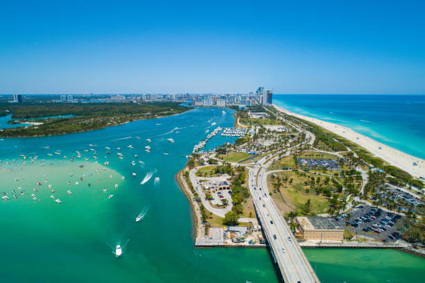 Aerial drone image of Miami Beach Haulover Park Aerial drone image of Miami Beach Haulover Park miami beach stock pictures, royalty-free photos & images
