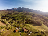 Aerial Drone Image of the Famous Schmid Ranch Near Telluride in Southwest Colorado in the Early Fall on a Sunny Afternoon with Blue Sky