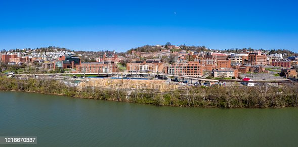 istock Aerial drone panorama of the campus of the university in Morgantown, West Virginia 1216670337