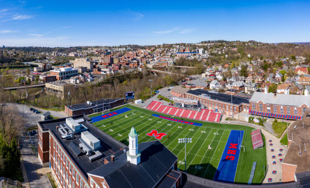 Aerial drone panorama of the downtown area of Morgantown, West Virginia stock photo