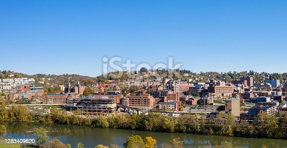 istock Aerial drone panorama of the downtown campus and buildings of the university in Morgantown, West Virginia 1283409820