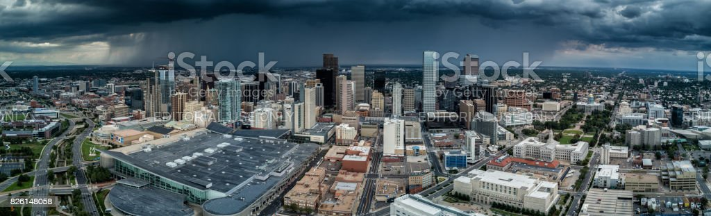 Aerial Drone Panorama.  Storm approaching City of Denver, Colorado stock photo