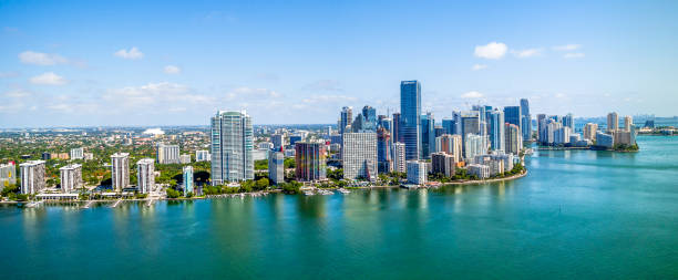 aerial drone panoramic of downtown miami - south stock pictures, royalty-free photos & images
