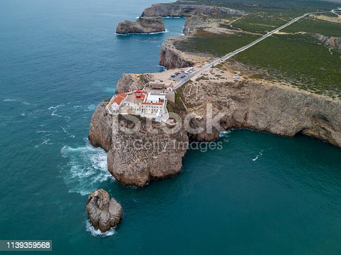 Aerial drone panoramic view of the lighthouse and cliffs at Cape St. Vincent at sunset. Algarve seascape.  Amazing landscape.Continental Europe's most South-western point, Sagres, Portugal.