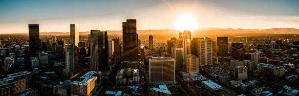 Aerial drone photo - City of Denver Colorado at sunset. stock photo