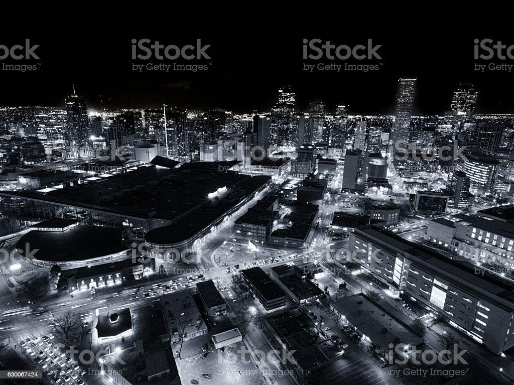 Aerial drone photo.  Cityscape skyline of Denver, Colorado stock photo