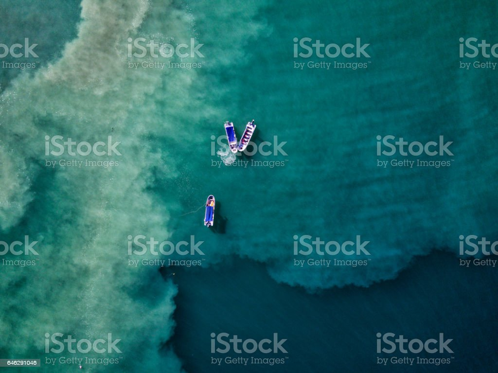 Aerial drone photo. Fishing boats in Pacific Ocean, Costa Rica stock photo