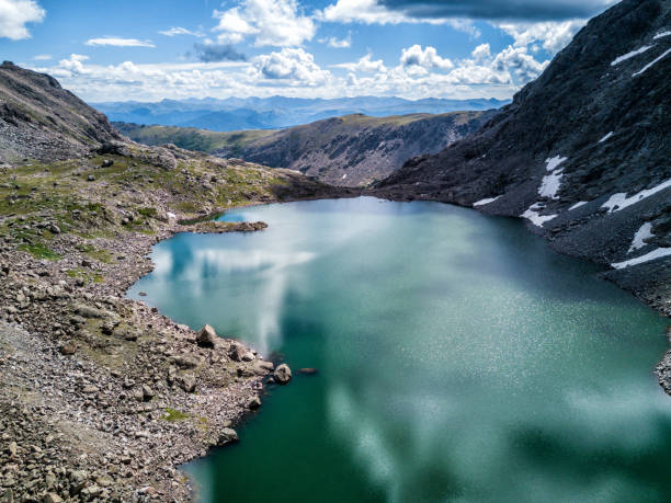 Aerial Drone Photo Mountain lake, Colorado Rocky Mountains. Vail, Colorado stock photo