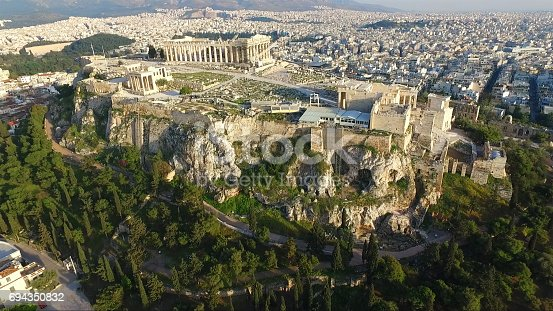 istock Aerial drone photo of archaeological site in Ancient Agora, Athens historic center, Attica, Greece 694350832