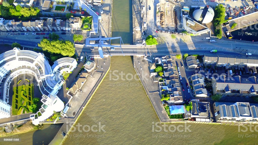 Aerial drone photo of Canary Wharf area on a spring morning, Docklands, London, United Kingdom stock photo