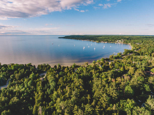 Aerial Drone Photo of Ephraim Door County Wisconsin Aerial drone photography showing a picturesque view of downtown Ephraim, Wisconsin and the harbor. Ephraim is located on the Door County Peninsula in Wisconsin. wisconsin stock pictures, royalty-free photos & images