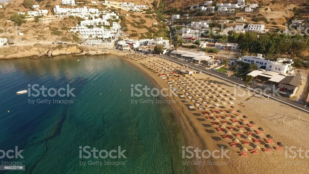 Aerial drone photo of picturesque island of Ios with clear water beaches on a summer morning, Cyclades, Greece stock photo