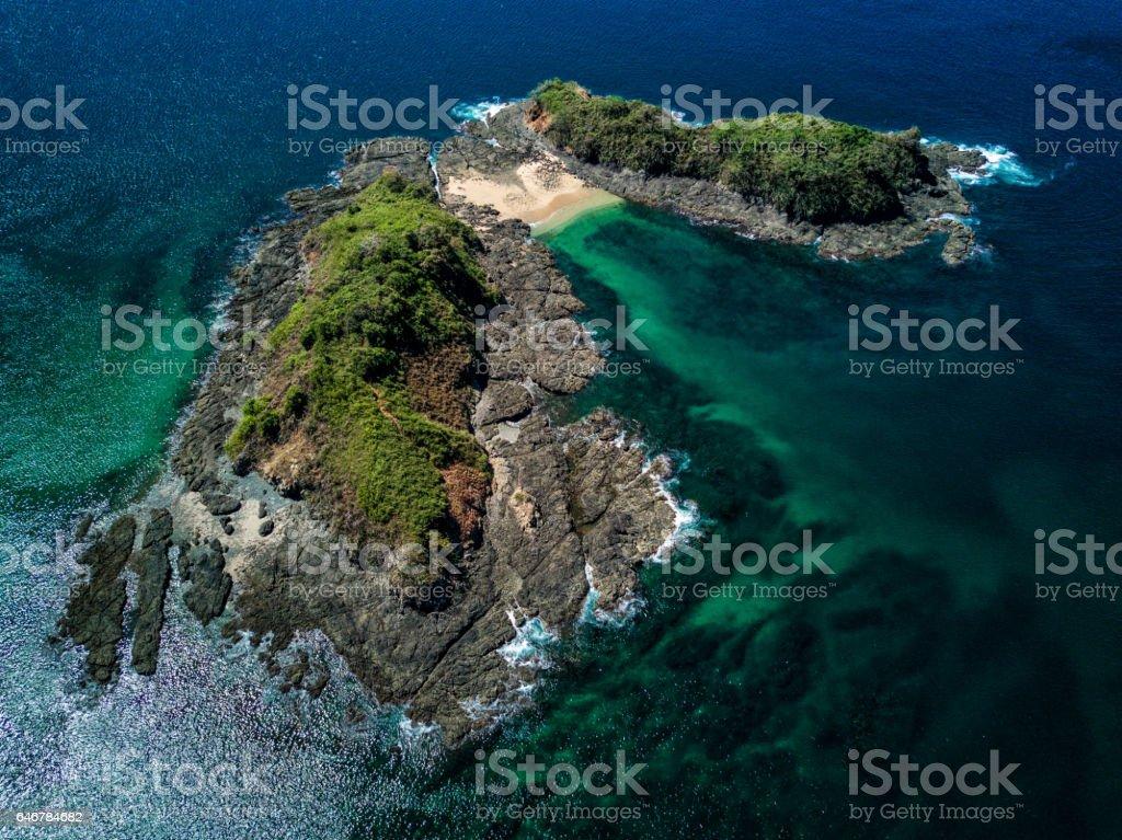 Aerial drone photo.  Pristine island.  Pacific Ocean of Costa Rica stock photo