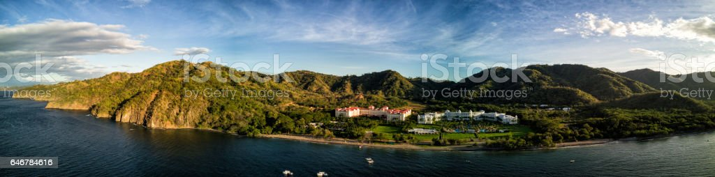 Aerial drone photo.  Resort hotels in mountains/jungles.  Costa Rica stock photo