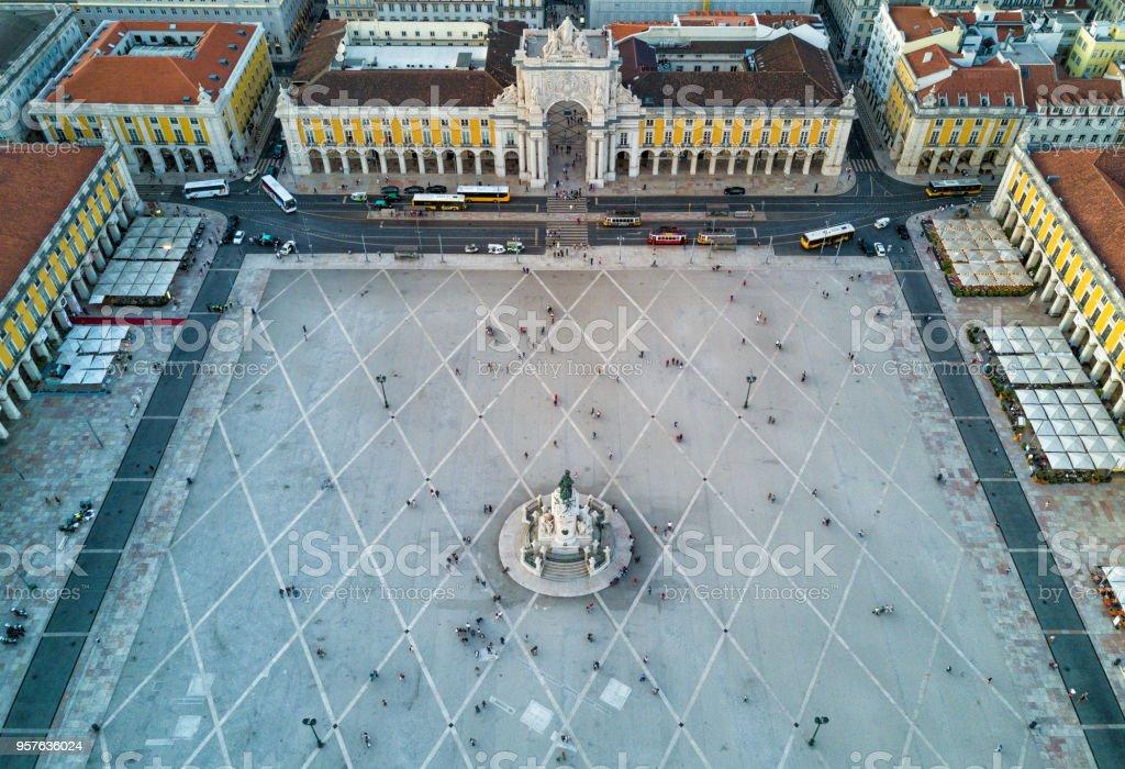 Aerial drone photo - Rua Augusta Arch, Lisbon Portugal stock photo