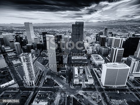 Denver Colorado - 12/4/16 - Aerial drone photo of the skyline of Denver Colorado at sunset.