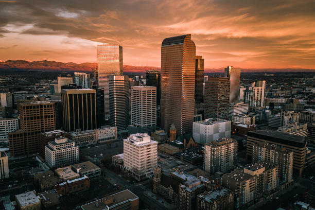 Aerial drone photo - Sunrise over city of Denver Colorado stock photo