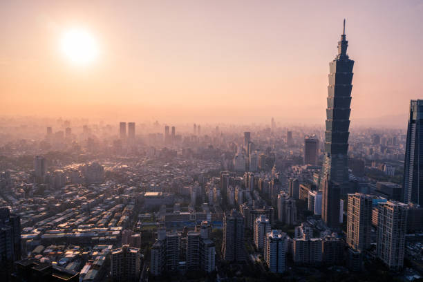 Aerial drone photo - Sunset over Taipei skyline. Taiwan stock photo