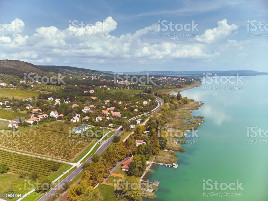 Aerial drone picture from a lake Balaton of Hungary – zdjęcie