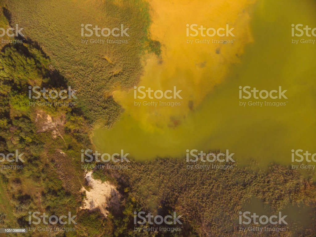 Aerial drone picture from lakes near the lake Balaton of Hungary, near village Salfold – zdjęcie