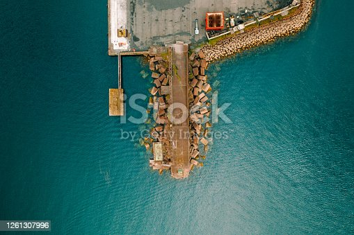 Aerial drone point of view pier