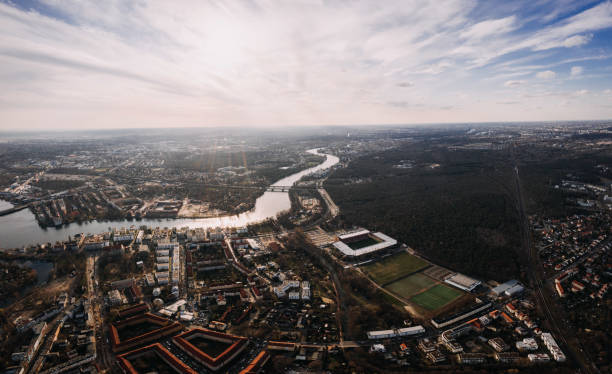 aerial drone shot of Berlin Kopenick with stadium of soccer team FC Eisern Union stock photo