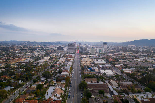 aerial drone shot of brand boulevard in downtown glendale - san fernando valley stock photos and pictures
