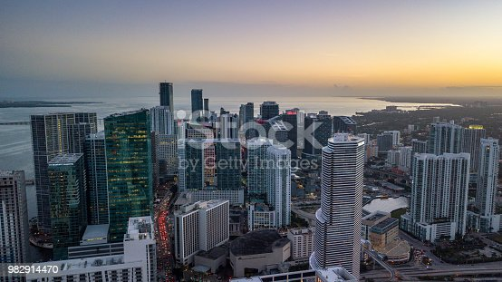 istock Aerial drone shot of Brickell Miami at dusk 1 982914470