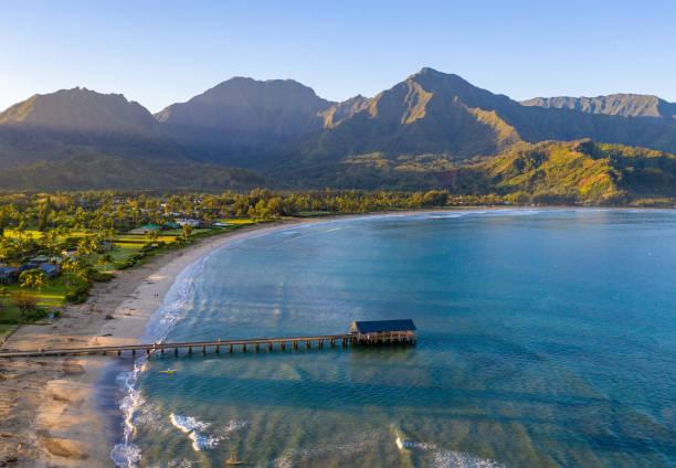 Aerial drone shot of Hanalei bay and beach on the north shore of Kauai in Hawaii stock photo