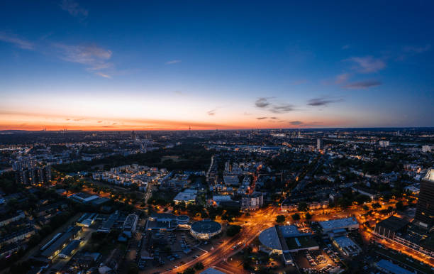 aerial drone shot of the city Cologne, Germany stock photo