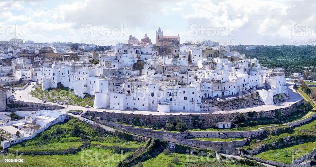 Aerial, drone shot - Ostuni city, Apulia,Italy. stock photo