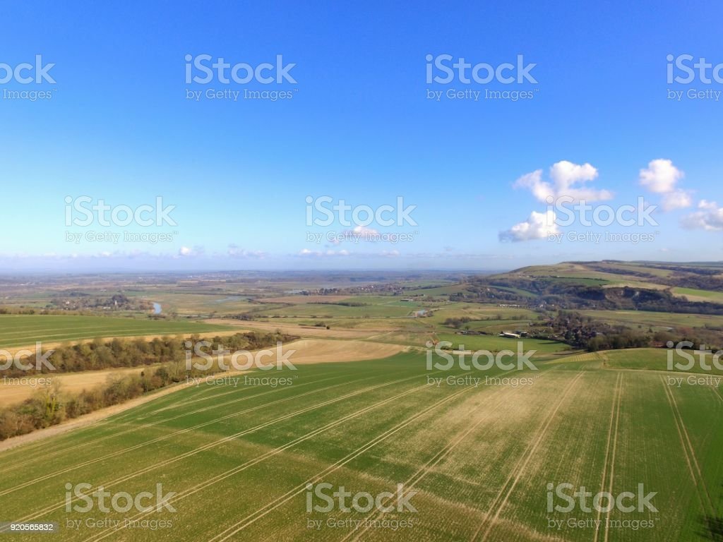 Aerial drone still image at 150ft over Sussex farmland. stock photo