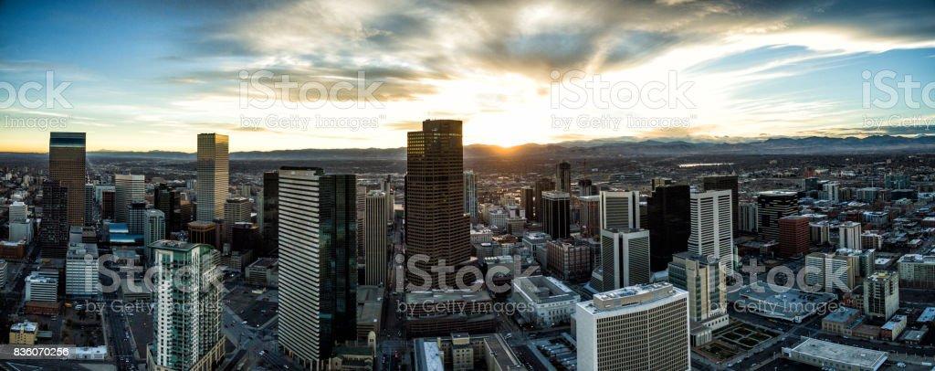 Aerial Drone Sunset Panorama - City of Denver, Colorado stock photo