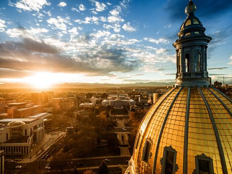 Aerial drone sunset photo.  Colorado capital building, city of Denver
