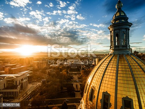 istock Aerial drone sunset photo.  Colorado capital building, city of Denver 629822156