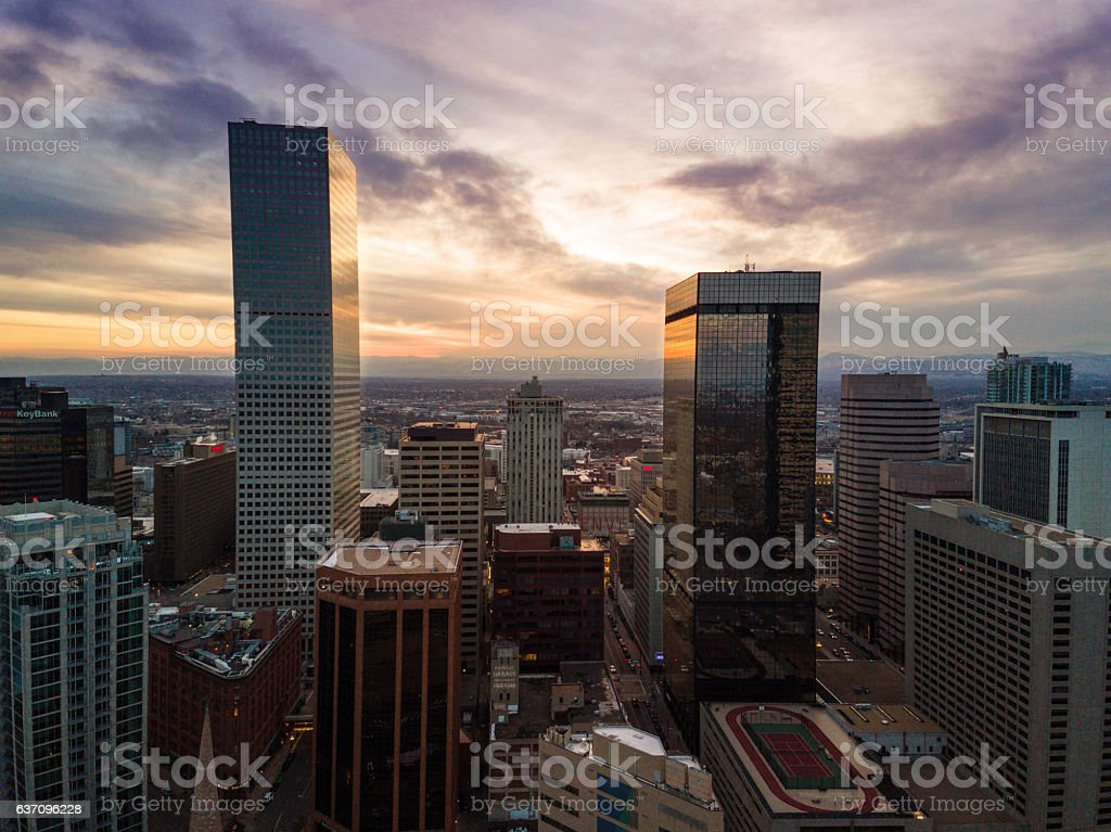 Aerial drone sunset photo of the city of Denver Colorado. stock photo