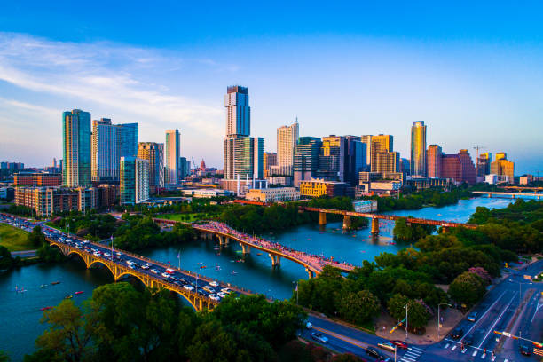 Aerial Drone view above Austin Texas USA Afternoon Sunset Lady Bird Lake 2019 on July 4th stock photo