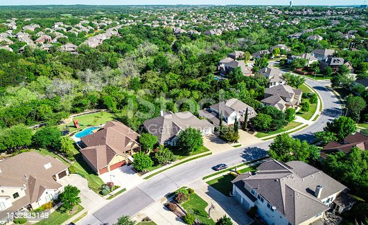istock Aerial drone view above suburb homes in Cedar Park , Texas 1132833149