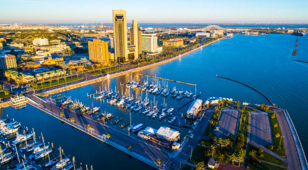 aerial drone view corpus christi , tx bayfront at sunrise long shadows behind the twin towers and harbor bridge with t-head - baía imagens e fotografias de stock