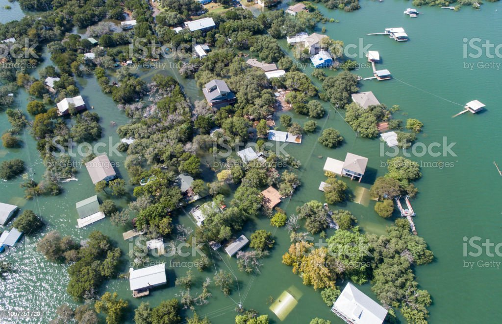 Aerial drone view entire Neighborhood under water near Austin , Texas royalty-free stock photo