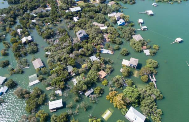 Aerial drone view entire Neighborhood under water near Austin , Texas stock photo