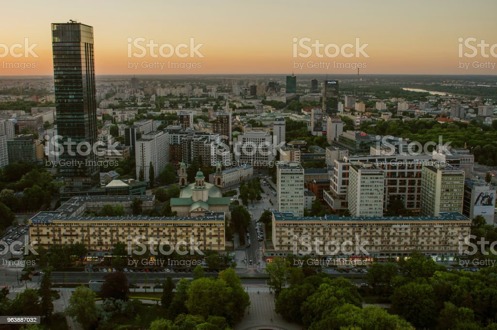 WARSAW, POLAND - JMAY 22, 2018. Aerial drone view from above of city center skyline - Royalty-free Above Stock Photo