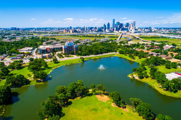 Aerial drone view high Above Lake in Dallas Texas 2019 stock photo
