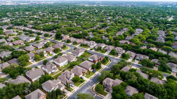 Luftbild-Drohne Aussicht hoch über Vorort Häuser in Austin, Texas – Foto