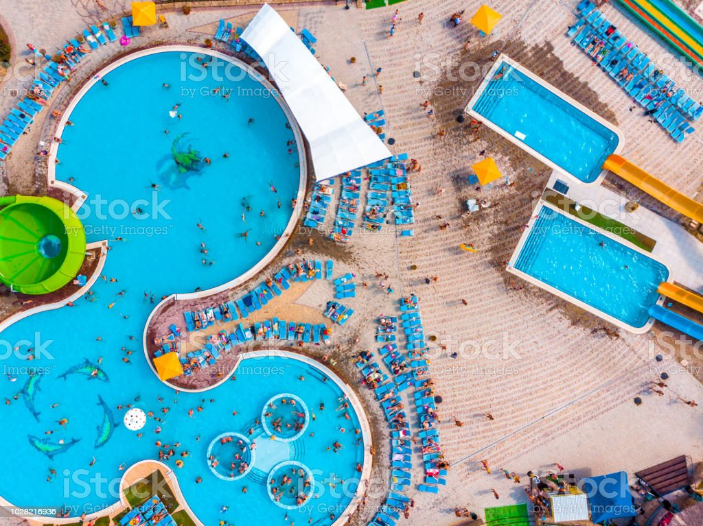 Aerial drone view looking straight down from above colorful summer...