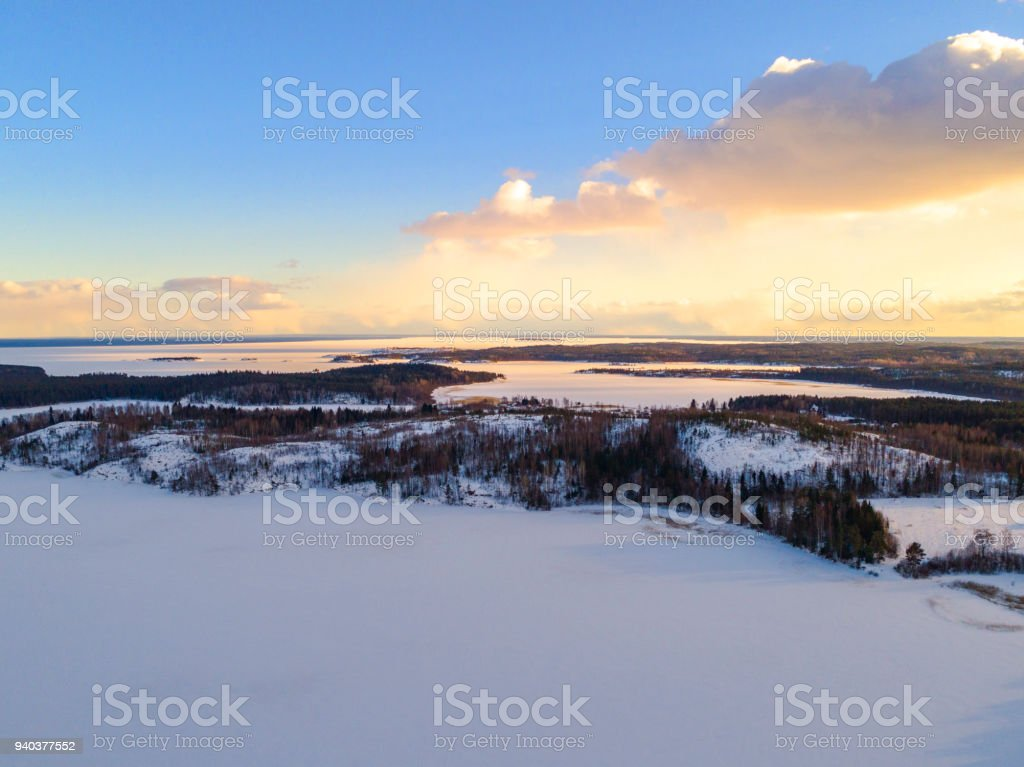 Aerial Drone View Of A Winter Landscape Snow Covered Forest And Lakes From The Top