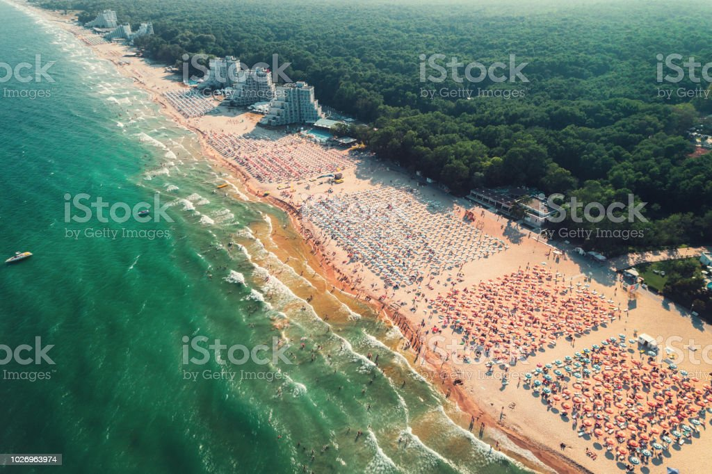 Aerial drone view of Albena sandy beach resort, Bulgaria. Summer tourism stock photo