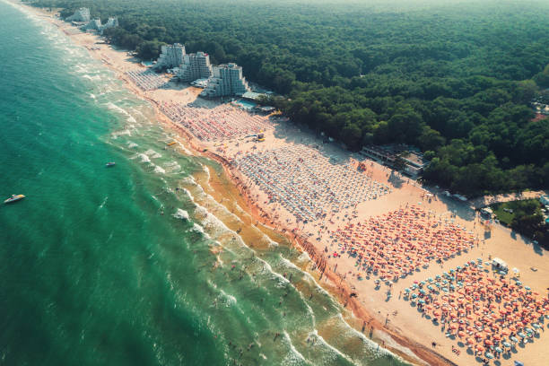 Aerial drone view of Albena sandy beach resort, Bulgaria. Summer tourism Aerial drone view of Albena sandy beach resort, Bulgaria. Summer tourism. bulgaria stock pictures, royalty-free photos & images