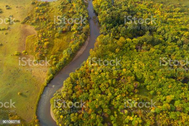 Photo of Aerial drone View of autumn mountains and small river with forests in sunrise soft light
