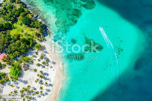 Aerial drone view of beautiful caribbean tropical island Cayo Levantado beach with palms and boat. Bacardi Island, Dominican Republic. Vacation background